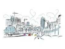 交通路剪影在您的设计的城市 库存图片