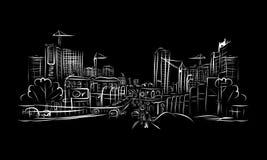 交通路剪影在您的设计的城市 免版税库存图片
