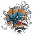 剥去出于背景的蛇神篮球 免版税图库摄影