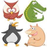 逗人喜爱的动画片动物集合 免版税库存图片
