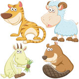 逗人喜爱的动画片动物集合 库存图片