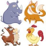 逗人喜爱的动画片动物集合 图库摄影