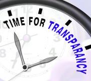 显示概念和公正的透明度消息的时刻 库存图片