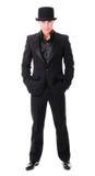 Κομψός ολόκληρος νεαρός άνδρας στο μαύρο κοστούμι Στοκ εικόνες με δικαίωμα ελεύθερης χρήσης