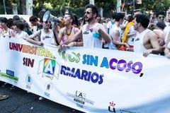 参与在示范的人们在同性恋自豪日在马德里游行 免版税库存图片