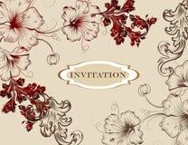 在花卉样式的典雅的手拉的邀请卡片 库存图片