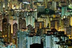 拥挤街市大厦在香港 库存照片