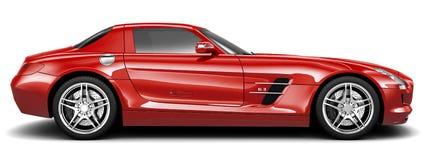 豪华红色体育小轿车-侧视图 免版税库存照片