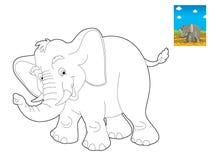 动画片徒步旅行队-着色页-孩子的例证 库存照片