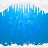 与冰柱的冬天背景 免版税库存照片