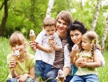 与孩子的室外家庭在绿草。 免版税库存照片