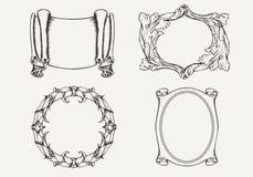 Σύνολο τεσσάρων αρχαίων εμβλημάτων και πλαισίων. Στοκ εικόνες με δικαίωμα ελεύθερης χρήσης