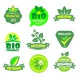 Био - экологичность - естественный комплект значка Стоковые Изображения