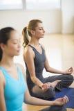 美丽的在健身房的女子实践的瑜伽 免版税库存图片