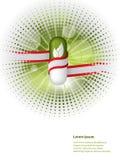 自然药片包裹与红色白色丝带 库存照片