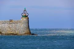 Гавань маяка зеленого света Стоковая Фотография