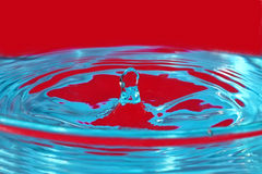水滴在红蓝色颜色 免版税库存图片