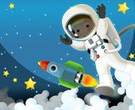 空间旅途-愉快和滑稽的心情-孩子的例证 免版税库存图片