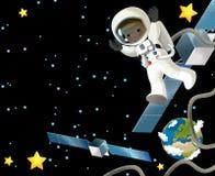 空间旅途-愉快和滑稽的心情-孩子的例证 免版税图库摄影