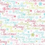 圣诞快乐文本无缝的样式背景 免版税库存照片