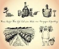 葡萄园。酒&葡萄例证。 免版税库存照片