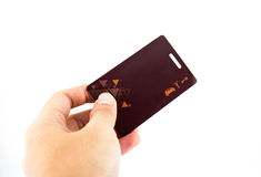 阻止安全限界钥匙卡片的手 免版税库存图片