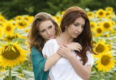 画象有长的头发的美丽的两个愉快的少妇 免版税库存照片