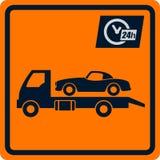 Διανυσματικό σημάδι με τις ρυμουλκήσεις φορτηγών. Στοκ Φωτογραφία