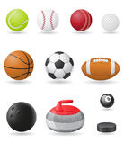 Установите иллюстрацию вектора шариков спорта значков Стоковые Изображения