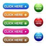 Χτυπήστε εδώ το κουμπί Στοκ φωτογραφία με δικαίωμα ελεύθερης χρήσης