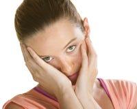 哀伤的面对的妇女 免版税库存照片
