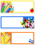 Ετικέτες σχολικών σημειωματάριων Στοκ Εικόνες