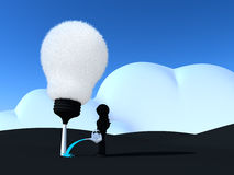 机器人浇灌的电灯泡树 免版税库存图片