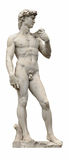 由古老雕刻家在白色隔绝的米开朗基罗的大卫雕象。佛罗伦萨,意大利。 库存照片