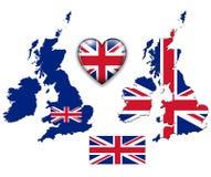 英国英国旗子,地图。 库存图片