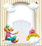 与小丑的一块空的象入口的模板 免版税库存照片