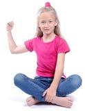 白色的坚强的小女孩 免版税图库摄影
