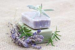 自然肥皂用草本 免版税库存图片