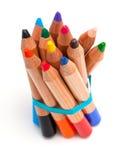 Δεμένα μολύβια μικρών παιδιών πέρα από το λευκό Στοκ Εικόνες