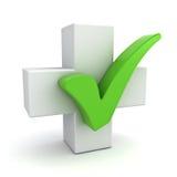 与绿色校验标志概念的白色加号在白色 免版税库存图片