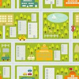 夏天城市的动画片地图无缝的样式。 免版税库存照片