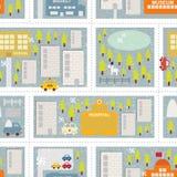 冬天城市的动画片地图无缝的样式。 库存照片