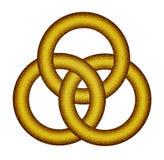 Τρία ενδασφαλίζοντας χρυσά δαχτυλίδια - κελτικός κόμβος Στοκ Εικόνες