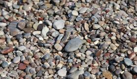 湿海沿海五颜六色的石头 库存照片