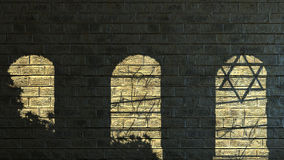 Старая каменная стена с тенями Стоковое Изображение RF
