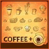 Εικονίδια σχεδίων χεριών καφέ καθορισμένα Στοκ Εικόνες