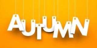 垂悬在串的秋天词 免版税库存照片