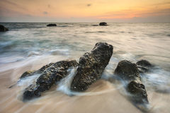 Красивый заход солнца на океане Стоковое Изображение RF