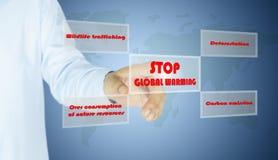 人按钮中止全球性变暖的手 免版税图库摄影
