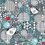 与雪鸟、心脏和花的样式。 免版税库存图片